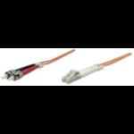 Intellinet Fibre Optic Patch Cable, Duplex, Multimode, LC/ST, 62.5/125 µm, OM1, 3m, LSZH, Orange, Fiber, Lifetime Warranty