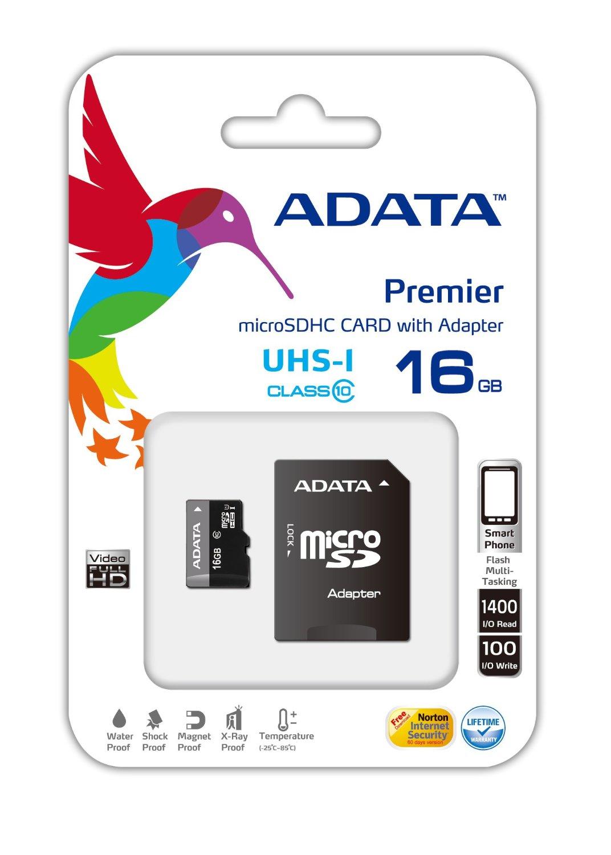 ADATA Premier microSDHC UHS-I U1 Class10 16GB memory card