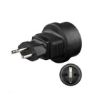 Microconnect PETRAVEL5 Type J (CH) Type F Black power plug adapter