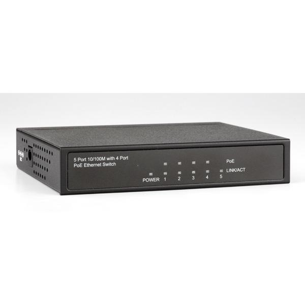 ROLINE PoE Fast Ethernet Switch, 5 Ports (4x PoE)