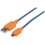 Manhattan USB 2.0 Braided Cable, USB-A to Micro-USB, Male to Male, 1.8m, Blue/Orange, Polybag