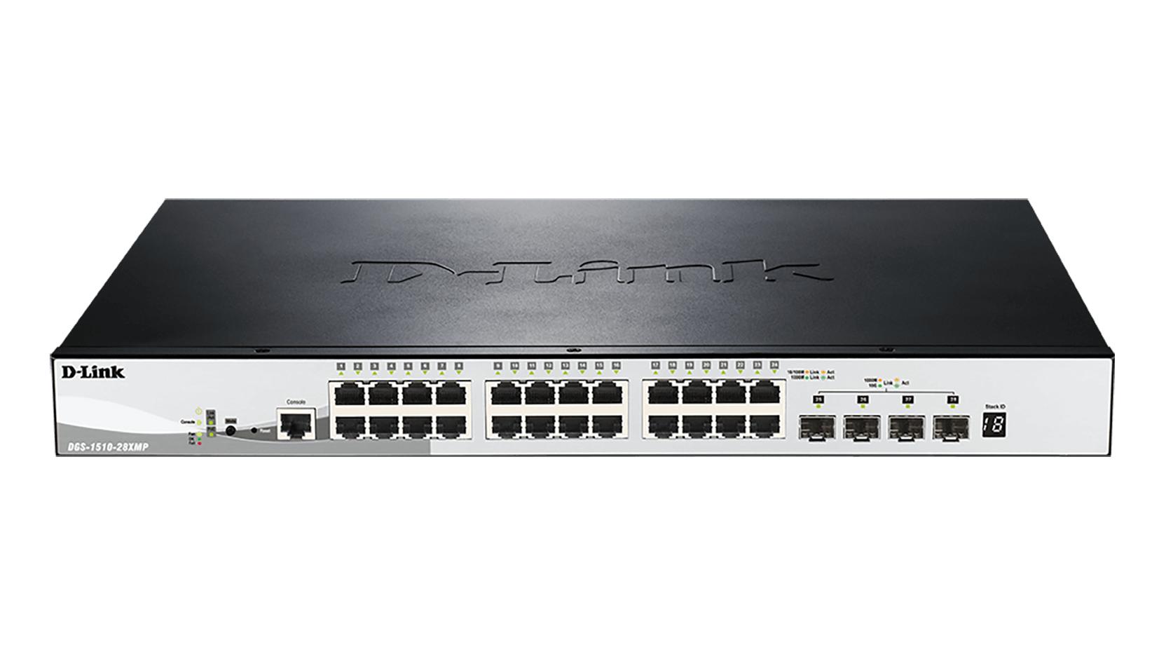 D-Link DGS-1510-28XMP switch Gestionado L2/L3 Gigabit Ethernet (10/100/1000) Negro, Gris Energía sobre Ethernet (PoE)