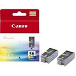 Canon CLI-36 Original Negro, Cian, Magenta, Amarillo 2 pieza(s)