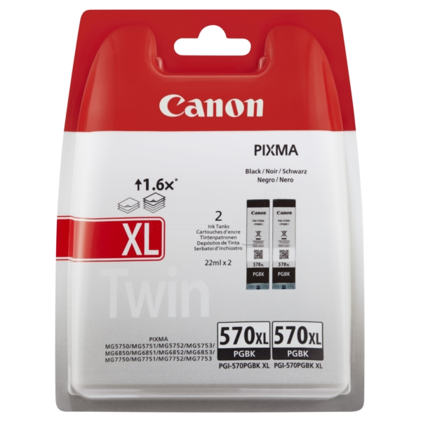 Canon 0318C007 (570 PGBKXL) Ink cartridge black, 1000 pages, 22ml, Pack qty 2