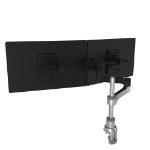 R-Go Tools R-Go Zepher C2 Circular Dual Smartbar Monitor Arm Desk Mount, Adjustable, 0-8 kg, Black-Silver, Low Carbon Footprint