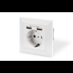 Digitus DA-70613 wandcontactdoos 2x USB Wit