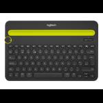Logitech K480 Black, Yellow Bluetooth QWERTY US International