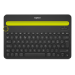 Logitech K480 Negro, Amarillo Bluetooth QWERTY Internacional de EE.UU.