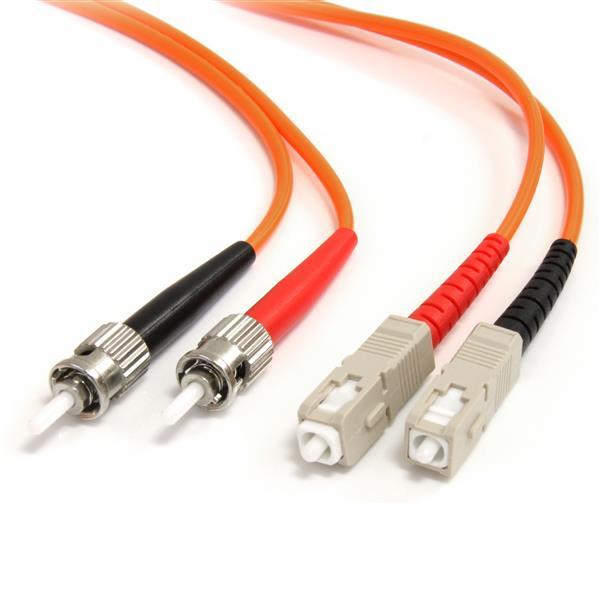 StarTech.com Cable de Fibra Óptica Patch Multimodo 62,5/125 Dúplex ST a SC de 3m – Naranja
