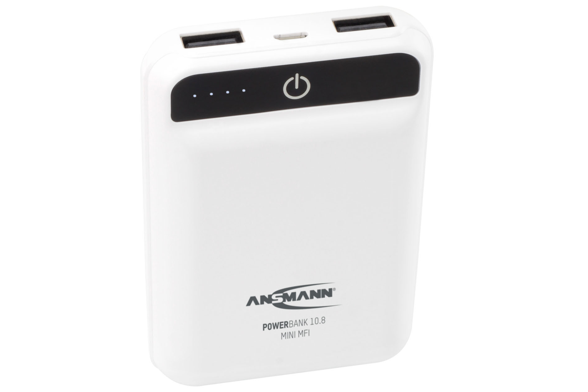 Ansmann 10.8 Mini MFI 10000mAh Portable Power Bank with Dual Charging Ports - White