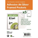 PELLTECH S/Adhesive A4 Silver Display Frames w/ Magnetic Closure Pk5