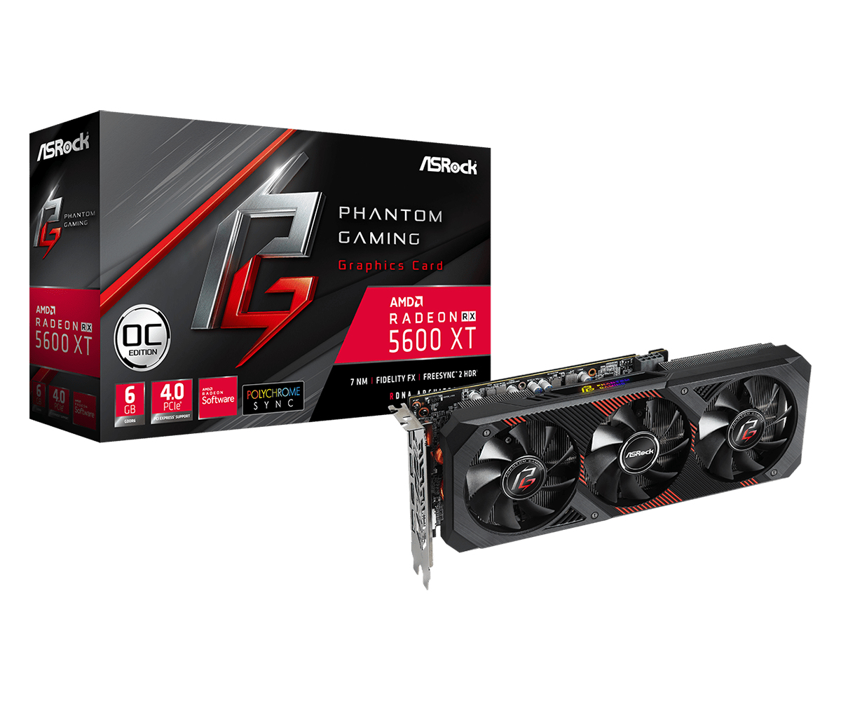 Graphics Card Radeon Rx 5600 Xt Phantom Gaming D3 Oc 3 X DisplayPort / 1 X Hdmi