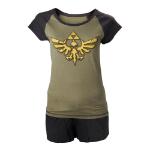 Nintendo Legend of Zelda Skyward Sword Female Royal Crest Shortama Nightwear Set, Large, Military Green/Black