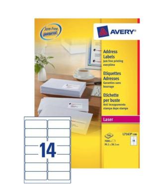 Avery L7163-500 addressing label White Self-adhesive label