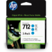 HP 712 3-pack 29-ml Cyan DesignJet Ink Cartridge