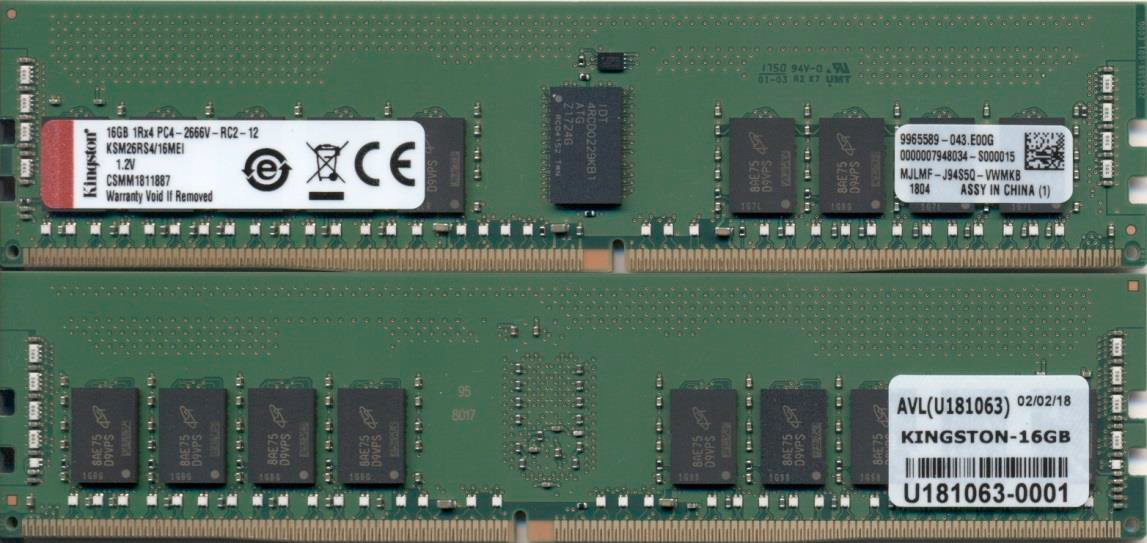 Kingston Technology KSM26RS4/16MEI módulo de memoria 16 GB 1 x 16 GB DDR4 2666 MHz ECC