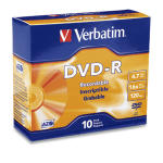 Verbatim DVD-R 4.7GB 16X Branded 10pk Slim Case 10 pcs