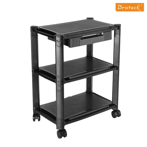 Brateck Height-Adjustable Smart Cart XL with Three-Shelves and Drawer 13''-32''