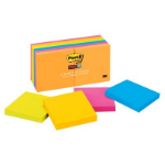 Post-It Super Sticky Notes, 3 in x 3 in, Rio de Janeiro Collection, 12 Pads/Pack
