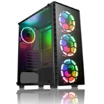 CIT Raider Mid Tower 1 x USB 3.0 / 2 x USB 2.0 Tempered Glass Side & Front Window Panels Black Case with