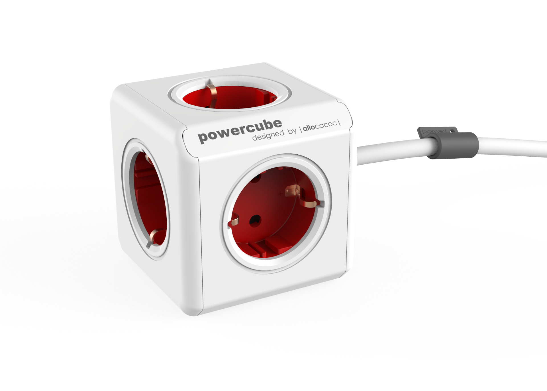 Allocacoc PowerCube Extended base múltiple 1,5 m 5 salidas AC Interior Rojo, Blanco
