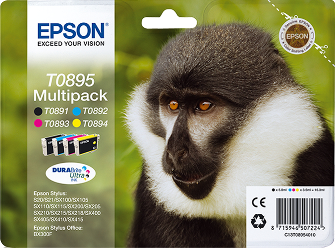 Epson Monkey Multipack 4-colours T0895 DURABrite Ultra Ink