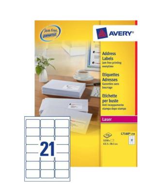 Avery L7160-250 addressing label White Self-adhesive label