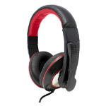 Jedel Gaming Headset USB 40mm Drivers Adjustable mic Inline Controls Black/Red
