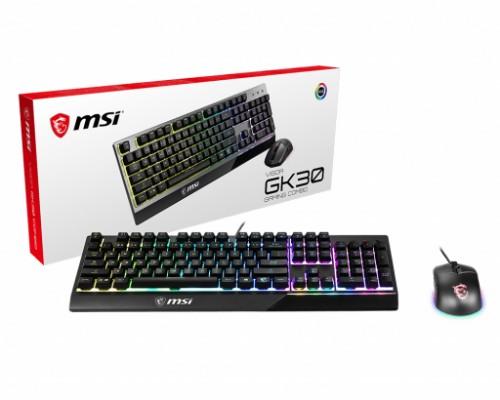MSI VIGOR GK30 COMBO RGB MEMchanical Gaming Keyboard + Clutch GM11 Gaming Mouse ' UK Layout, 6-Zone RGB Lighting Keyboard, Dual-Zone RGB Lighting Mouse, 5000 DPI Optical Sensor, RGB Mystic Light'