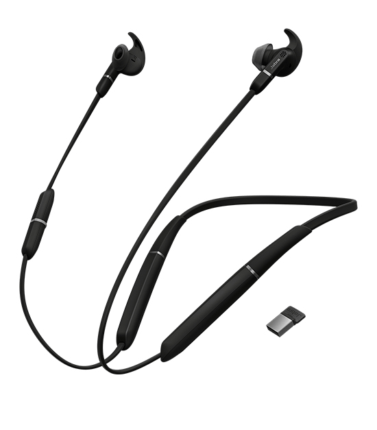 Jabra Evolve 65e Auriculares Dentro de oído, Banda para cuello Negro