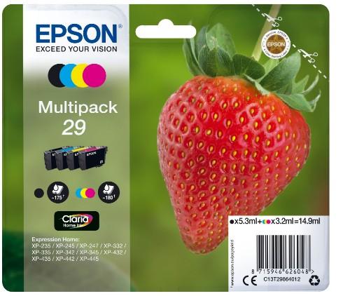Epson C13T29864012 (29) Ink cartridge multi pack, 5,3ml + 3x3,2ml, Pack qty 4