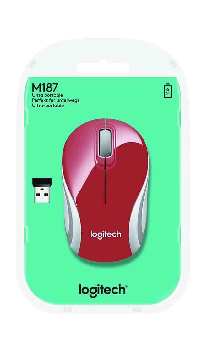 Logitech M187 mice RF Wireless Optical 1000 DPI Red