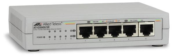 Allied Telesis 10/100/1000T x 5 ports unmanaged Gigabit Switch w/ ext PSU & plastic enclosure, EU power cord Unmanaged White