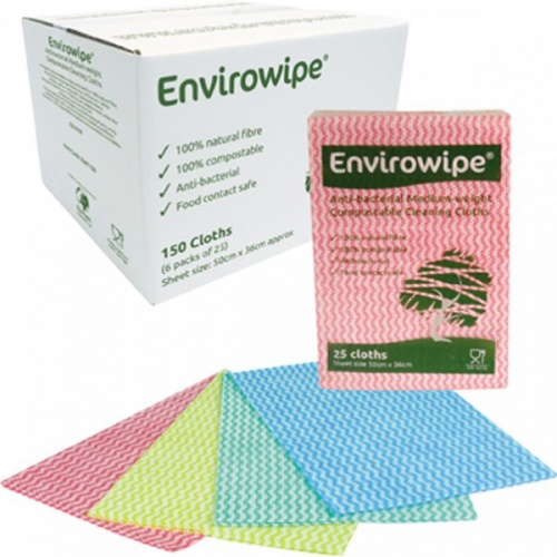 Envirowipe 100% Natural Cleaning Cloths (50x36cm) Green PK25