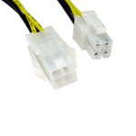 4-Pin ATX (M) to 4-Pin ATX (F) 0.28m Black and Yellow Internal Extension Cable