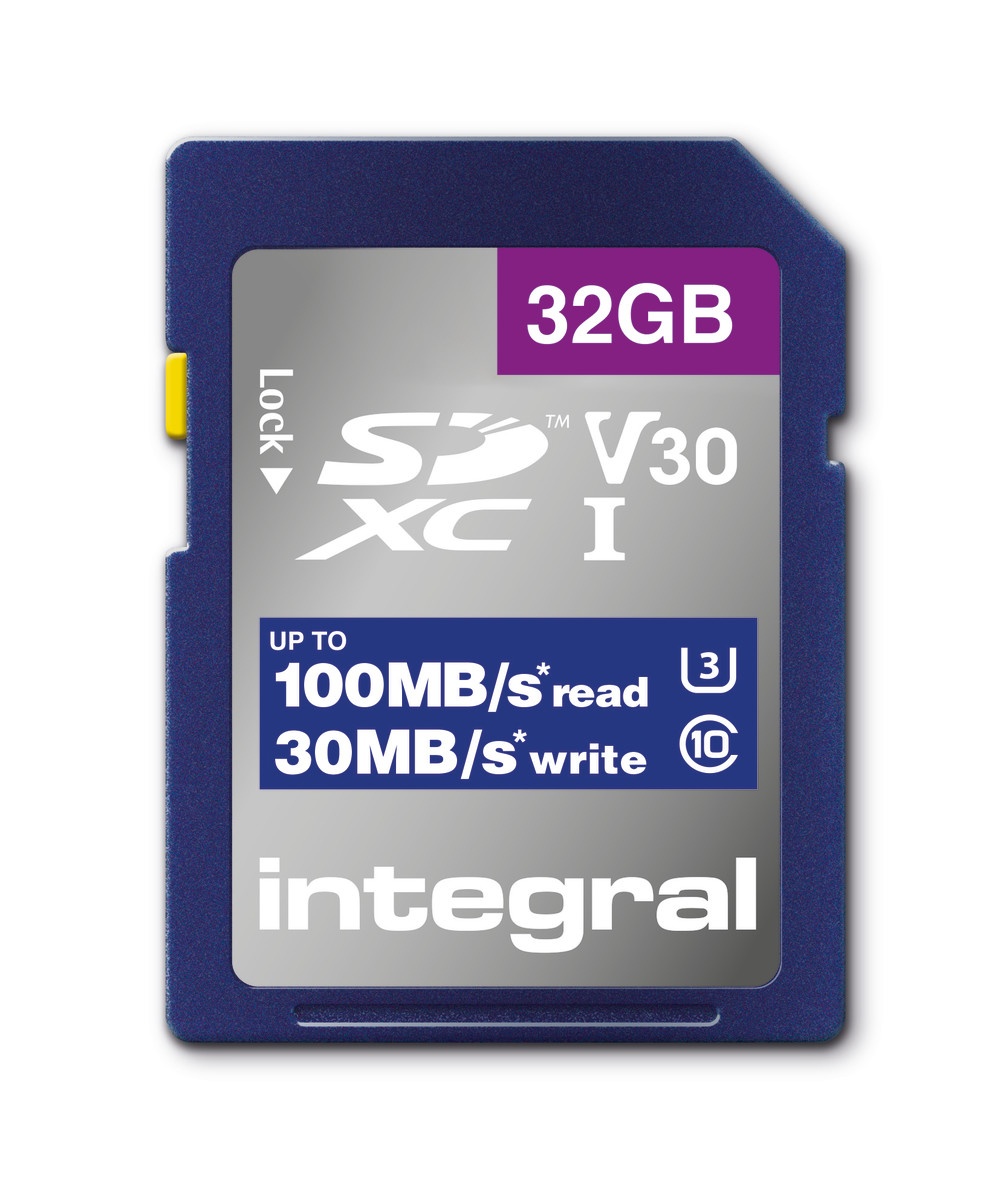 Integral INSDH32G-100V30 32GB SD CARD SDHC UHS-1 U3 CL10 V30 UP TO 100MBS READ 30MBS WRITE memory card UHS-I