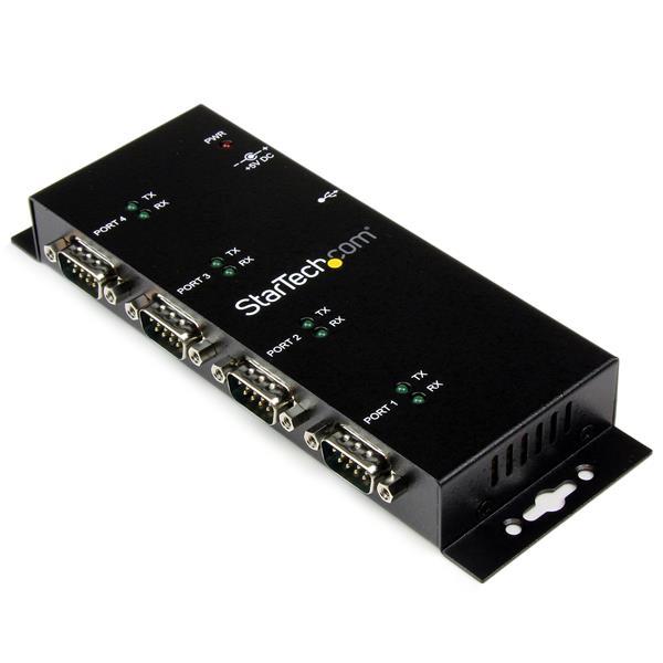 StarTech.com Concentrador Adaptador USB a Serie RS232 DB9 4 Puertos – Riel DIN Industrial y Montaje en Pared