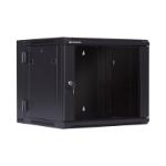 LinkBasic 9U, 600x550x501mm, Smokey-gray glass door with hinged rear access Cabinet, Black