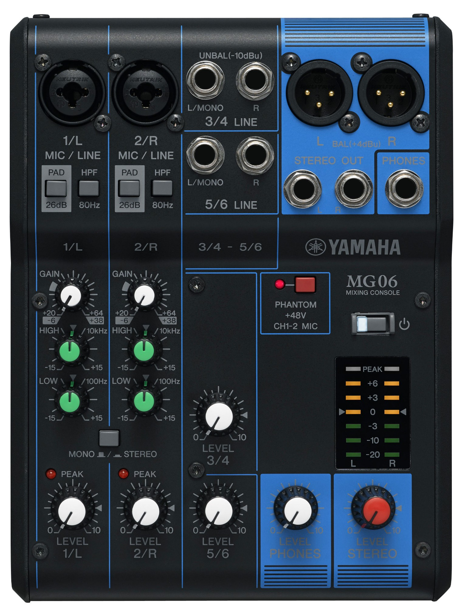 Yamaha MG06 6channels Black audio mixer