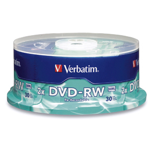 Verbatim DVD-RW 4.7GB 2X Branded 30pk Spindle 4.7GB DVD-RW 30pc(s)