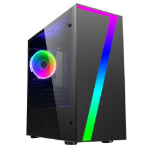 Seven Micro ATX Gaming Case with Window, No PSU, RGB Fan & Front Strip with Control Button, Acrylic