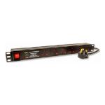 LMS 6 Way Horizontal 19 Inch Rackmount PDU with Surge Protected UK Plug, 1.8m, Black (PDU-6WS-H-SP-1U)