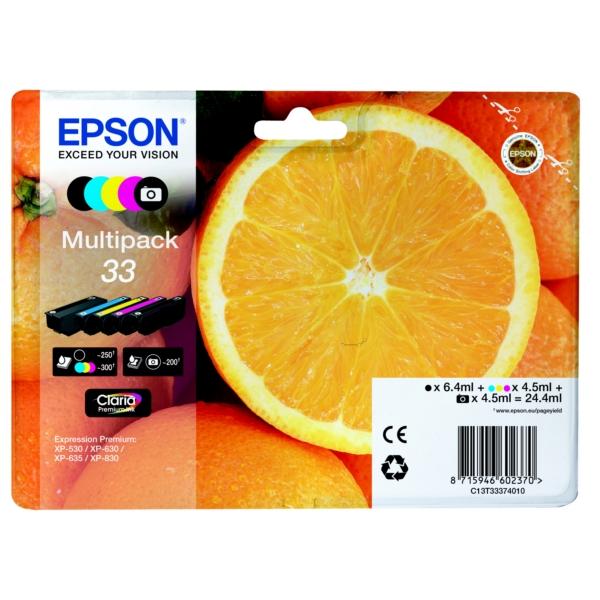 Epson C13T33374010 (33) Ink cartridge multi pack, 6,4ml+4x4,5ml, Pack qty 5