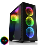 GAMEMAX Draco Black RGB 4 x 12cm RGB Fans Tempered Glass Side & Front Panels