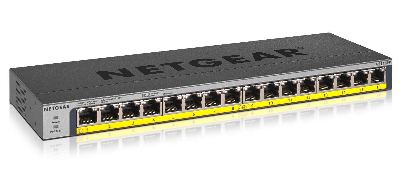 Netgear GS116PP No administrado Gigabit Ethernet (10/100/1000) Negro Energía sobre Ethernet (PoE)