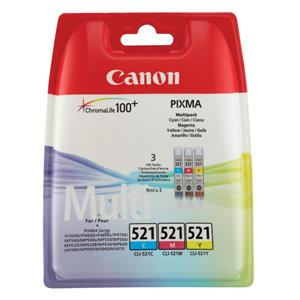 Canon 2934B010 (CLI-521) Ink cartridge multi pack, 446 pages, 3x9ml, 9ml, Pack qty 3
