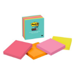 Post-It Super Sticky Notes, 3 in. x 3 in., Miami Collection, 6 Pads/Pack, 65 Sheets/Pad