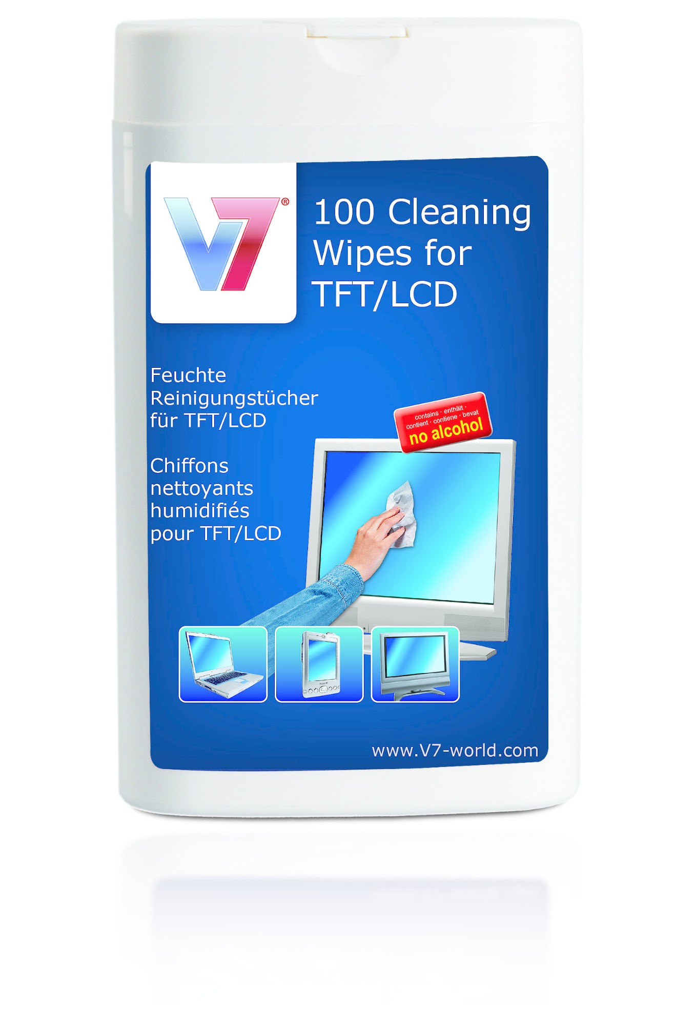 V7 VCL1522 computerreinigingskit Vochtige doekjes voor apparatuurreiniging LCD/TFT/Plasma