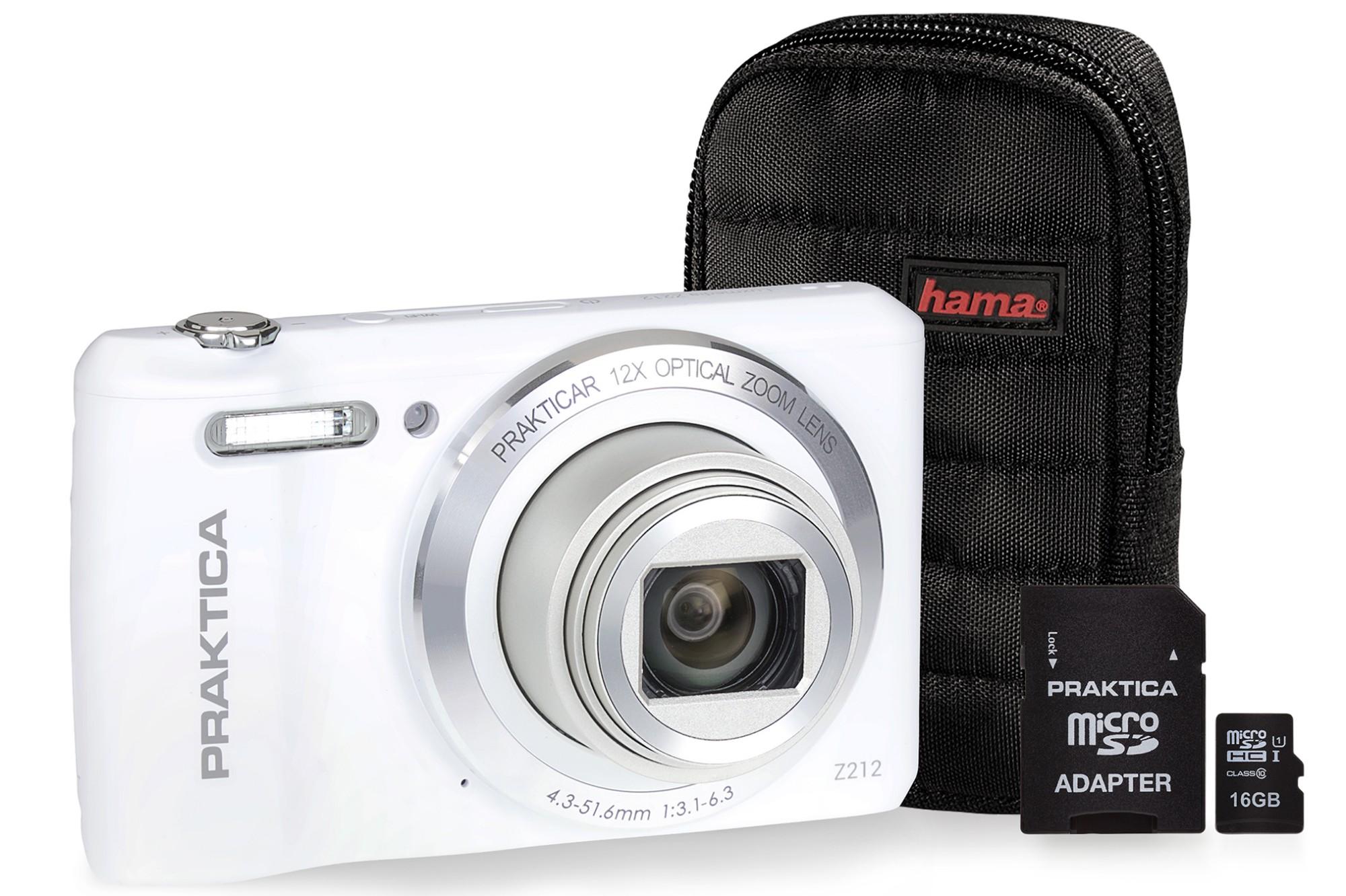 Praktica Luxmedia Z212 White Camera Kit inc 16GB MicroSD Card & Case