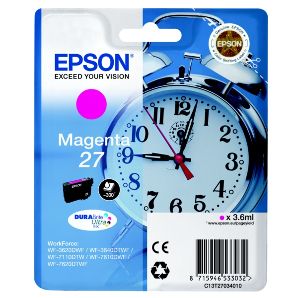 Epson C13T27034012 (27) Ink cartridge magenta, 300 pages, 4ml